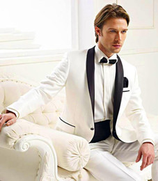 Wholesale Groomsmen Suits Champagne Brown - Hot ! New One button White Serge White & Black Suit With Black Satin Lapels Groom Tuxedos Handsome Man Groomsmen Wedding Suits Bridegroom