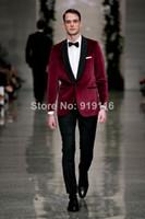 Wholesale Cm Pants - 2016 custom made Bridegroom Velvet Burgundy Shawl lapel wedding tuxedo Groom Wear 3 peices suits set(jacket+Pants+bowtie)CM-7271 Groom wear