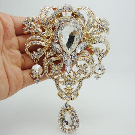 Commercio all'ingrosso - Rhinestone del cristallo del Rhinestone del perno di Pin del pendente di goccia del fiore di stile