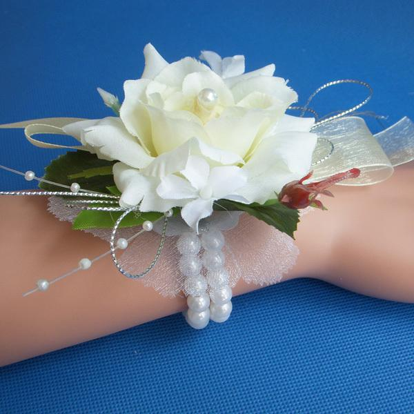 2019 Wedding Or Prom Wrist Corsage With Pearl Bracelet Silk Rose