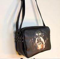 Wholesale Soft Dog Backpacks - animal bag crossbody bags wave of female black dog head wrap Rottweiler discount handbags rivet shoulder bag Messenger bag