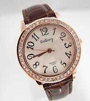 Wholesale Gogoey Quartz - Gogoey free shipping wholesale 6 colors leather fashion crystal quartz watch women ladies analog wrist watch GO020