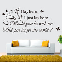Wholesale Removeable Vinyl - Free Shipping If I Lay Here Removeable Vinyl Wall Art Quote Butterfly's Sticker Decal