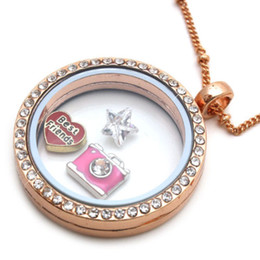 Wholesale Living Memory Locket Necklace - 5pcs 30mm Rose Gold Crystal Living Memory Locket Pendant Necklace For Floating Charm