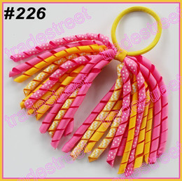 Wholesale Korker Pony - free shipping 2014 mewest 50pcs mix color korker ponytail holders pony holder streamers ponytail holder bows