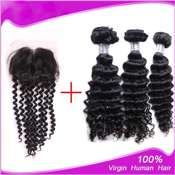 Commercio all'ingrosso - 100% estensioni dei capelli vergini brasiliani colore naturale onda profonda 3 vie parte superiore pizzo chiusura 4