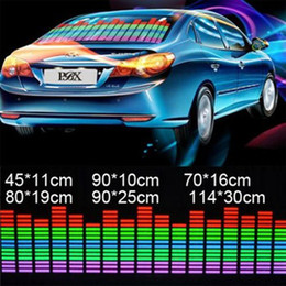 Wholesale Sound Music Activated Car Stickers - car styling 6 sizes of Sound Music Activated EL Sheet Car Stickers Equalizer Glow Flash led Light racing decal auto film