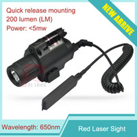 Wholesale tactical laser flashlight pistol - Tactical Red Laser & Flashlight Sight Scope Combo Weaver Picatinny Rail Rifle 200 Lumen for Pistol HT8-0001R