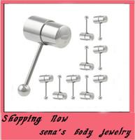 los anillos de la lengua vibran al por mayor-T11 anillo de la lengua vibrante anillos de acero inoxidable de color dorado Barbell lengüeta piercing Stud anillo de la joyería T42