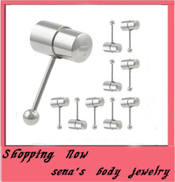 Wholesale Stud Tongue Rings - T11 Vibrating Tongue Ring Stainless Steel Rings Gold Color Barbell Tongue Piercing Stud Tongue Ring Jewelry T42