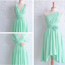 Wholesale Sheer Halter Bridesmaid Dress - Cheap Gracefhul One Shoulder  Halter Mint Green Bridesmaid Dress Sleeveless Sheer Chiffon Catch Fold Embroidery Floor Length Prom Dress