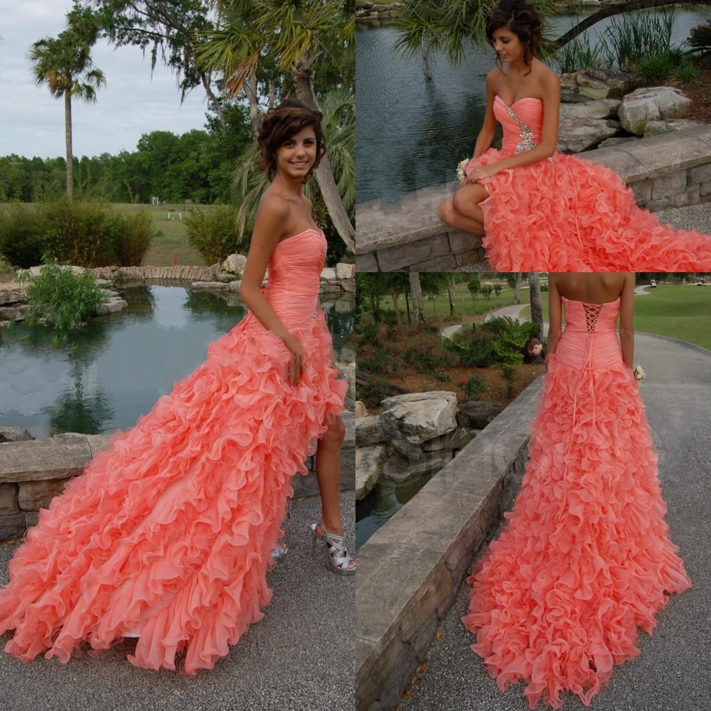Evening Gowns Beautiful Coral Color Strapless Sweetheart High Low