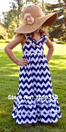 Wholesale Baby Girl Dresses Chevron - Wholesale-MN-Navy blue halterneck Maxi Chevron Dresses for Baby to Big Girls,floor length summer dress