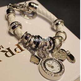 Wholesale Korea Ladies Watch - Ladies Fashion Korea Style Genuine Leather Bracelet Heart Multi Pendant Bracelet Watch Women Dress Watch Free Shipping