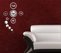 decoração ems venda por atacado-EMS grátis! 3d arte relógio etiqueta criativo relógio de parede adesivo decoração diy divertimento acrílico cristal decoração relógio relógio de bolha cartaz, sweethome123