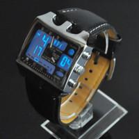 tag zeit geführt großhandel-Schwarzes Vorwahlknopf-OHSEN passt LED-Tagesdatums-Wecker-Stoppuhr-analoge Digital-Doppelzeit-Quarz-Mens-Lederband-Armbanduhr auf