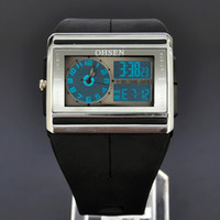 Wholesale Ohsen Lcd - OHSEN Black Mens Watches LCD Light Time Day Date Stopwatch ALM Chro Analog Digital Quartz Rubber Band Wristwatch W016