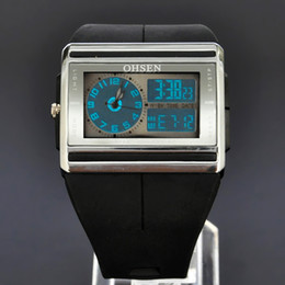 Wholesale Ohsen Digital Lcd - OHSEN Black Mens Watches LCD Light Time Day Date Stopwatch ALM Chro Analog Digital Quartz Rubber Band Wristwatch W016