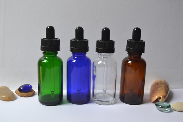 Wholesale 100pcs Lot 30ml -1 Oz glass bottles/Vails with black Childproof glass dropper Cap For Essential oils,Cosmetics,E-juice,New