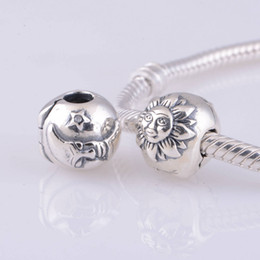Wholesale Sterling Silver Crimps - Authentic S925 Sterling Silver NIGHT DAY Sun Moon Stars Clips Charm Beads DIY Fits Pandora Bracelets jewelry Accessories