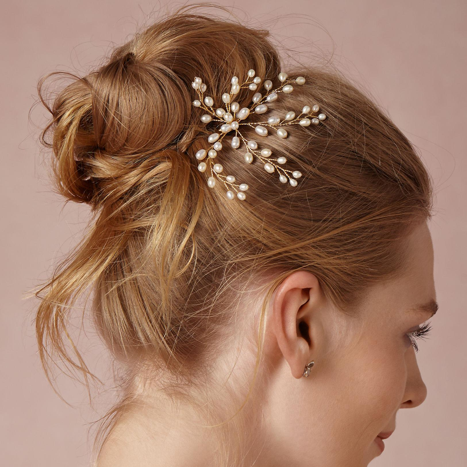 elegant tiaras clip & hair pins with 59 fresh water pearl hair