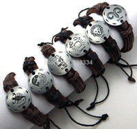 Wholesale Cheap Leather Band Bracelet - Wholesale-MN-unisex assorted cheap wholesale genuine leather bracelet Twelve Constellation Zodiac bands