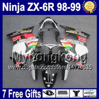 Wholesale Hot Wheels Red - 7gifts For EUROBET KAWASAKI ZX6R NINJA 98 99 ! 100% New Hot 6Y103 ZX636 black white red ZX-636 ZX-6R ZX 6R 636 1998 1999 98-99 Fairings