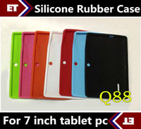 Wholesale Green Ipad Keyboard Cover - DHL 500PCS Colorful Q88 Silicone Rubber Back Case for 7 inch Allwinner A13 A23 Q88 Android Tablet PC TB1