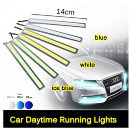 Wholesale Day Time Led - Ultra Bright 12V 12W Daytime Running Lights 14cm Length Daylight COB Car LED DRL Day time lamp 100% Waterproof Silver black Frame