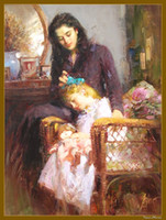 "Wholesale Oil Paint Portraits - Free Shipping ,0060#,Wholesale Lots,100% HANDCRAFTS Portrait OIL PAINTING ART PAINTING:Pino Daeni , 24""x36"" inch or any other szie On Canvas"