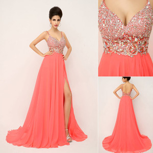Wholesale SSJ 2019 New Charming Prom Dresses With Spaghetti Crystals Beads Backless A Line Long Coral In Stock Evening Pageant Party Gowns 2014 XU015