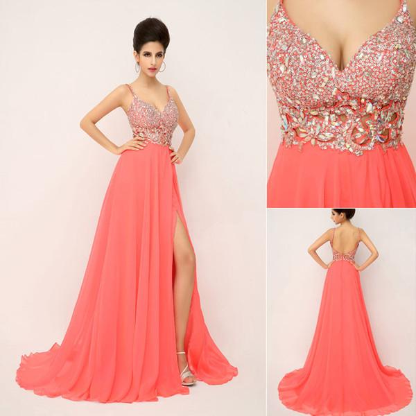SSJ 2019 nuovi abiti da ballo di charme con perline di spaghetti cristalli backless una linea di corallo lungo in magazzino abiti da sera spettacolo pageant 2014 XU015