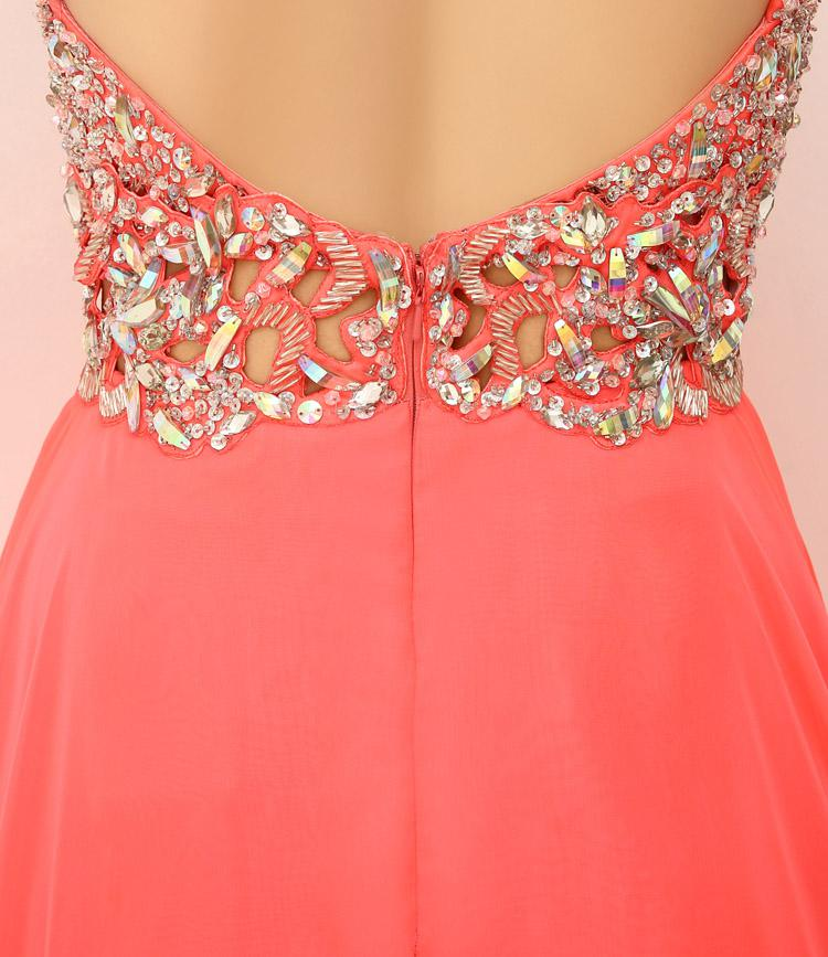 SSJ 2019 New Charming Prom Dresses With Spaghetti Crystals Beads Backless A Line Long Coral In Stock Evening Pageant Party Gowns 2014 XU015