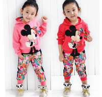 Wholesale Girls Floral Hoody - Autumn Children Clothing Suit Girls Cartoon Miki Floral Butterfly Long Sleeve Hoody Tops + Flower Long Trousers 2pcs Set Clothes M0559