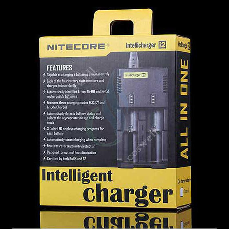 Original Nitecore I2 Universal Charger 16340 18350 18650 14500 26650 E Cigarette mods Battery Multi Function Intellicharger US UK EU AU PLUG