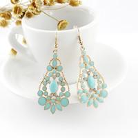 Wholesale Enamel Flower Drop Earrings - Latest Design Fashion Earrings Jewelry Enamel Water Drop Rhinestone Gold Color Hollow Out Graceful Alloy Earrings for Women