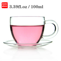 Wholesale Tea Cup Saucer Sets Wholesale - 6Set   Lot Coffee Tea Set - 6*3.39 fl.oz 100ml Heat-Resisting Clear Glass Water Tea Cup Drink Mug w  Handle + 6* Pyrex Crystal Glass Saucer