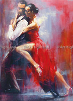 Wholesale Dance Oil Painting Canvas - Free Shipping,0582#,Lots Wholesale, Hand Painted Vintage Portrait Oil Paintings on Canvas Lover Tango Dance,Any customized size accepted