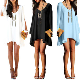 Wholesale Women S Plus Cocktail Dresses - S5Q Long Sleeve Casual loose Shirt dress Sexy Women Summer Party Evening Cocktail Short Mini Dress AAADPR