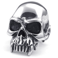 Wholesale Cool Mouth - 316L Stainless Steel Cool Big Polishing Vimpire Style Shark Teeth Big Mouth Skull Silver Ring