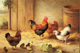 Wholesale Thick Cock - Free Shipping ,Wholesale,100% HANDCRAFTS Art OIL PAINTING :Chick cock hens pigeons together Multi Szie Thick Canvas