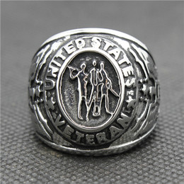 Wholesale Wholesale Silver Rings Usa - 316L Stainless Steel Silver Cool USA Army Siver New Ring