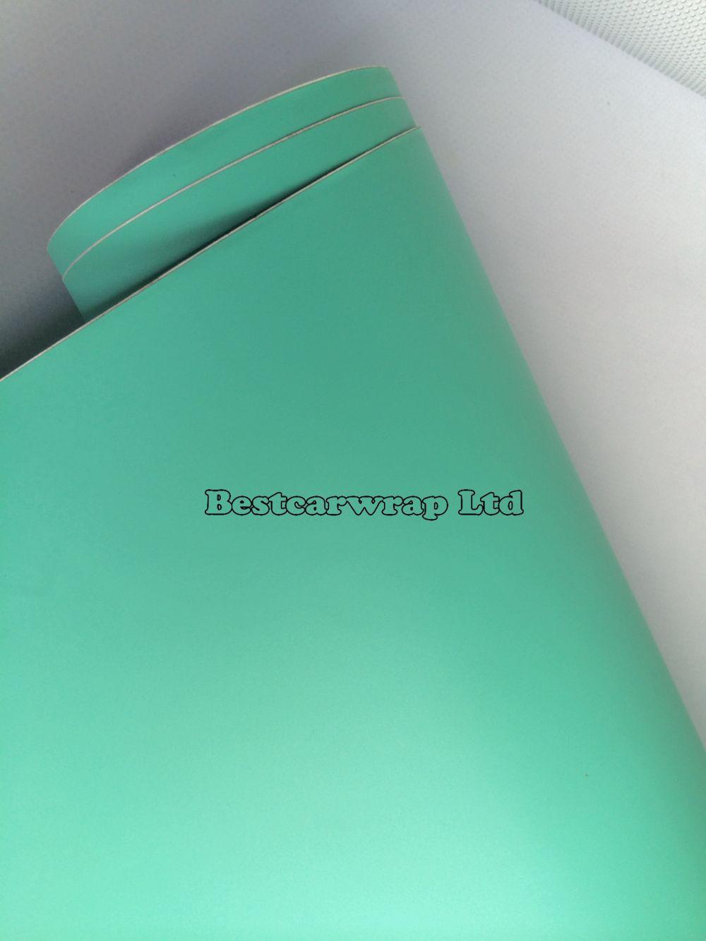 Premium Matt Tiffany Blue Vinyl Car Wrapping Film With Air Bubble Free Mint Matte Film Wrap covers foil 1.52x30m/Roll 5x98ft