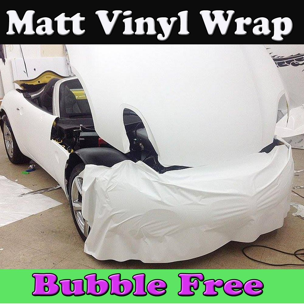 Fosco branco Vinyl Car Wrapping Filme Matt White com bolha de Ar Livre Matt Foile auto gráficos cobrindo o tamanho da pele 1.52x30 m / Roll Frete Grátis