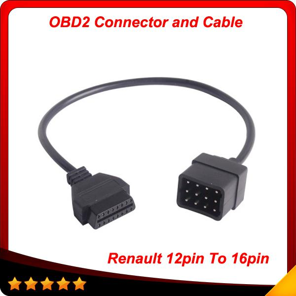 2014 Lowest Price For Renault 12 Pin OBD 2 Connector Adapter Car Accessories Diagnostic Extension Cable 16 Pin Free Shipping