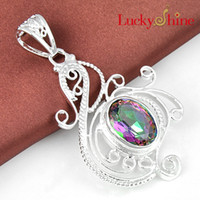 Wholesale Mixed Coloured Necklaces - Free shipping --- Luckyshine 925 silver mix colour topaz crystal pendant for women gemstone jewelry 2pcs P0401