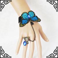Wholesale valentine butterflies - Retro Blue Butterfly Gemstone Bracelet Ring Novelty Women Charm Bracelet Jewelry Accessories Valentines Gift CN170
