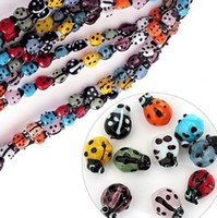 Wholesale Wholesale Ladybug Beads - 200pcs lot Mixed Colours Lampwork Glass Ladybug Ladybird Beads 7x9mm Loose Beads Fit Beading Jewelry DIY Accessories BBC001