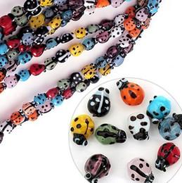 Wholesale Wholesale Ladybug Beads - 200pcs lot Mixed Colours Lampwork Glass Ladybug Ladybird Beads 7x9mm Loose Beads Fit Beading Jewelry DIY Accessories BBC001
