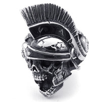 Wholesale Troy Designs - Solid 316L Stainless Steel Cool Silver Spartak Warriors Mask Knight Skull Troy Ring Newest Design Cool